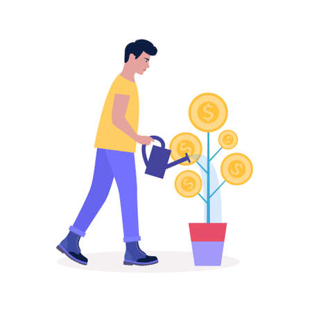 Business investment concept. Young man waters the plant with coins. Vector illustration in a flat style