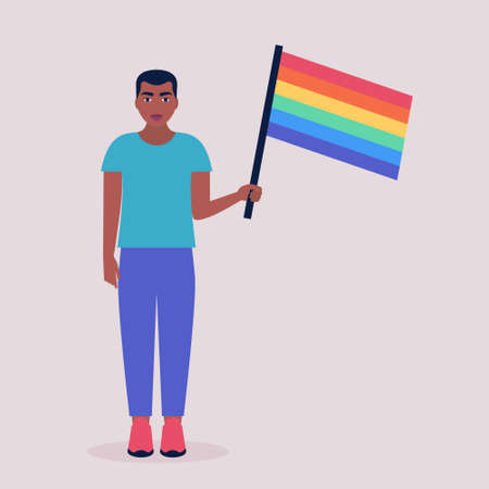 Vector illustration of LGBT activist in parade. Young man with rainbow flag. Vector illustration in a flat style