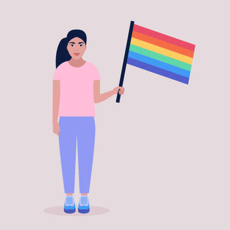Vector illustration of LGBT activist in parade. Young woman with rainbow flag. Vector illustration in a flat style