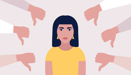 Public disapproval concept. Young woman surrounded by hands thumbs down. Vector illustration in a flat style