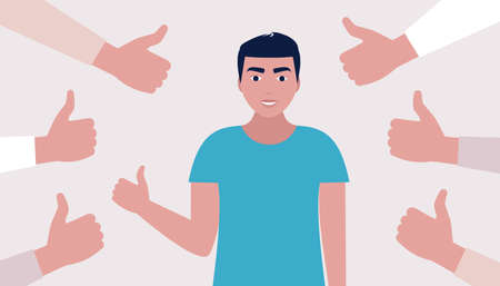 Public approval concept. Young man surrounded by hands thumbs up. Vector illustration in a flat style  イラスト・ベクター素材
