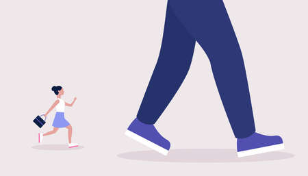 Leader, advantage, rivalry concept. Ð¡oncept of young woman running after big leader. Colorful flat vector illustration