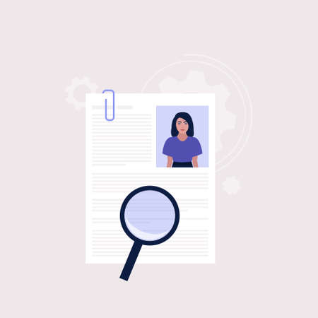Candidate selection concept. Young woman examines the resume of candidates. Colorful flat vector illustration