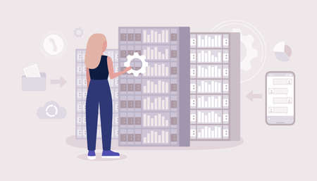 Data processing center. Young woman working in server room. Colorful flat vector illustration. Vektoros illusztráció