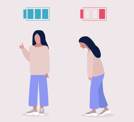 Low and full energy concept. Positive and sad woman. Colorful flat vector illustration.
