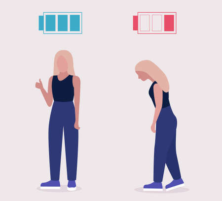 Low and full energy concept. Positive and sad woman. Colorful flat vector illustration. Ilustracje wektorowe
