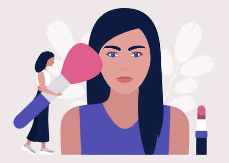 Applying makeup concept. Colorful flat vector illustration