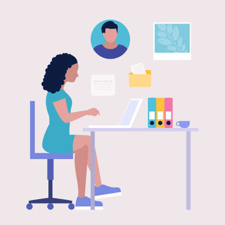 Workflow illustration. Young woman works at home or office with a laptop. Freelancer. Worker. Communication in social networks, mail, online meeting, video call. Vector illustration in a flat style