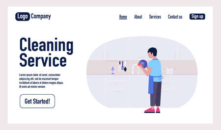Cleaning Service landing page. Young man washing a plate in the kitchen. Housekeeping concept. Colorful flat vector illustration