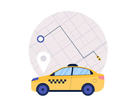 Taxi service concept. Colorful flat vector illustration.