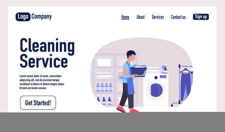 Housekeeping concept. Cleaning Service landing page. Young man holding a basket of dirty laundry. Wash concept. Colorful flat vector illustration Illustration