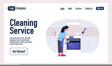 Cleaning Service landing page. Young woman washes the oven in the kitchen. Housekeeping concept.Colorful flat vector illustration