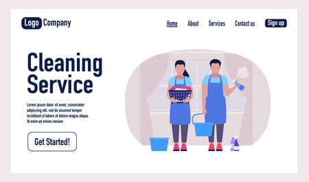 Cleaning Service landing page. Characters cleaning the apartment. Colorful flat vector illustration Illustration