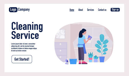Cleaning Service landing page. Young woman washes the window with a rag. Housekeeping concept. Colorful flat vector illustration Illustration