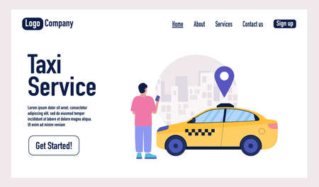 Taxi service concept. Character using online taxi service. Landing page. Colorful flat vector illustration.