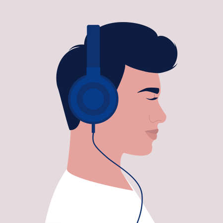 Character listen to music on headphone. Audio books. Meditation. Lecture. Vector illustration in a flat style