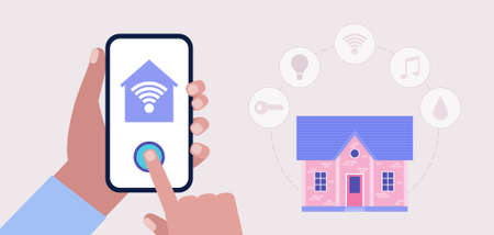 Smart house concept. Hand hold smartphone with smart house app, program. Vector illustration in a flat style