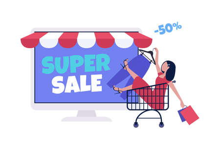Shopping concept. Online shopping via computer. Super and mega sale. Black Friday. Colorful flat vector drawing.