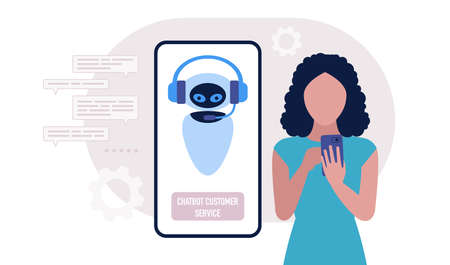 Chatbot support concept. Character consults with virtual assistant. Colorful flat illustration