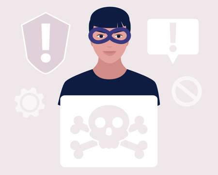 Hacking concept. Hacker tries to hack and steal personal data. Scamming. Vector illustration in a flat style