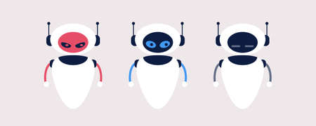 Different types of robot emotions. Vector illustration in a flat style Illustration