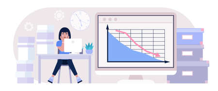 Financial crisis, economy crash, loss in business lead concept. Crying character. Vector illustration in a flat style Illustration