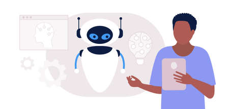 Artificial intelligence concept. Robot with character. Vector illustration in a flat style Illustration