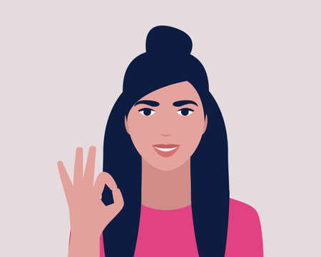 Character shows okay by hand. Vector illustration in a flat style