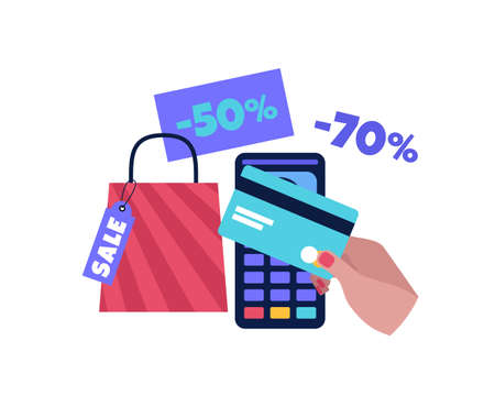 Shopping concept. Super and mega sale. Black Friday. Colorful flat vector drawing. Illustration