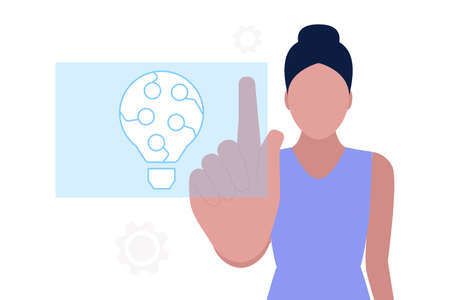 Artificial intelligence concept. Touch the digital Artificial intelligence hologram. Vector illustration in a flat style Illustration