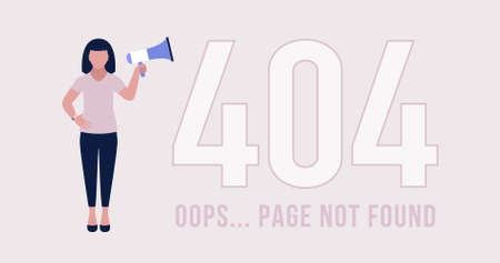 Website 404 error concept. Character with megaphone. Lost, not found pages. Colorful flat vector illustration