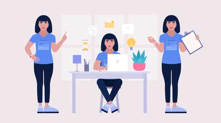 Multitasking and time management concept. Worker doing multitasking skills. Vector illustration in a flat style Illustration