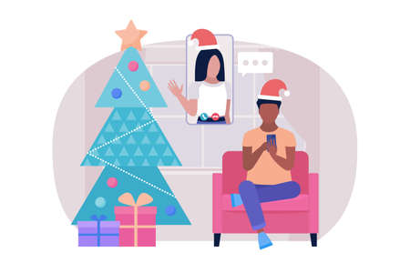 Illustration of Christmas and happy new year theme. Illustration of conference video call, video call to a friend, study online, business meeting. Colorful flat vector illustration Illustration