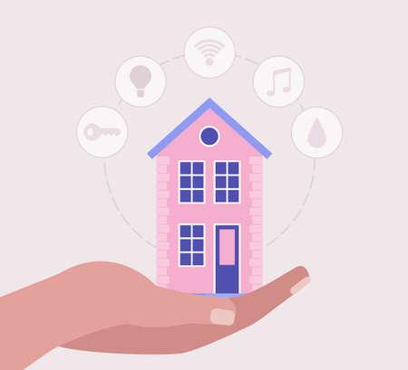 Smart house concept. Hand hold house. Vector illustration in a flat style Illustration