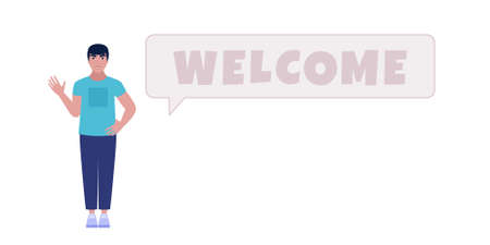 Welcome concept. Greeting character with welcome. Vector illustration in a flat style