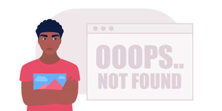 Website 404 error concept. Young woman with computer. Colorful flat vector illustration