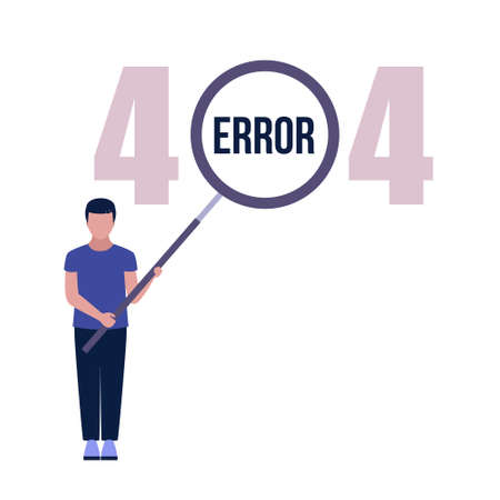 Website 404 error concept. Character with magnifying glass. Lost, not found pages. Colorful flat vector illustration
