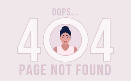 Website 404 error concept. Crying Character. Lost, not found pages. Colorful flat vector illustration