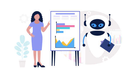 Robot with character analyzing infographic, project, statistics. Vector illustration in a flat style Illustration