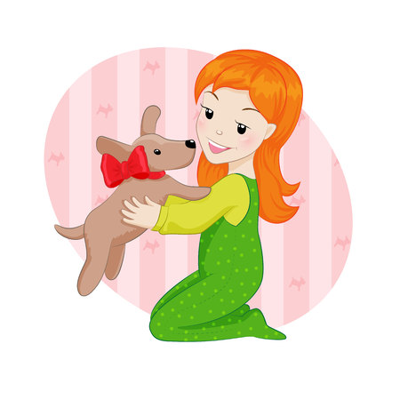 bestfriend: Girl and puppy Illustration