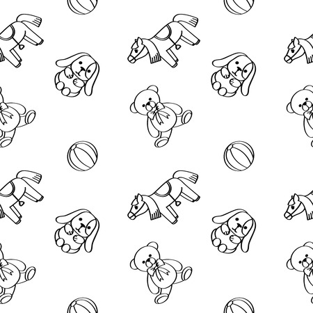 baby: Toys. Seamless pattern. Black contour. Illustration