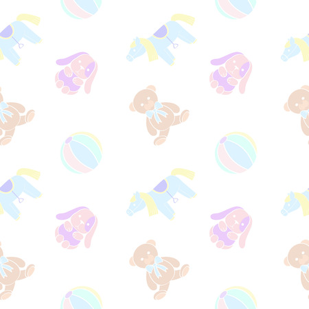 pale colors: Cuddly toys. Seamless pattern in pale colors.