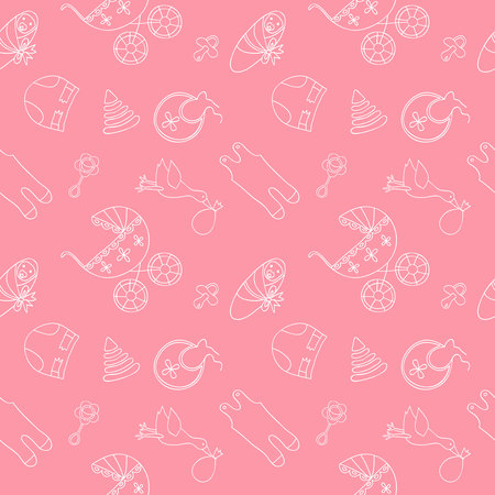 romper: Monochrome baby seamless pattern on pink background.