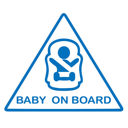 forewarning: Baby on board sign isolated on white. Illustration