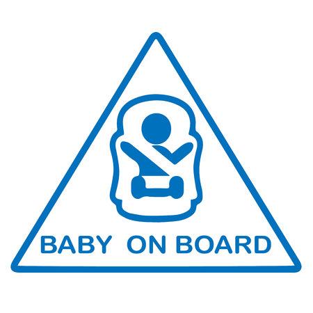bebe a bordo: Beb� a bordo de signo aislado en blanco.