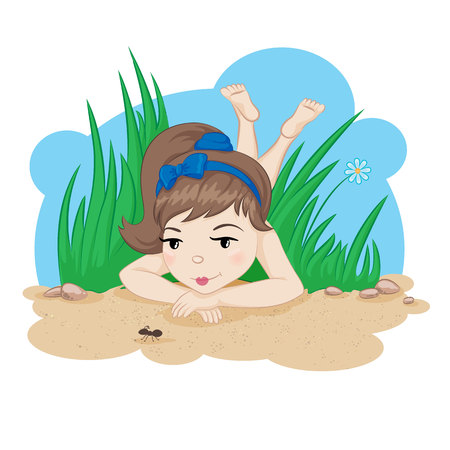 woman lying down: Cartoon styled girl lying in grass and watching at the ant on the sand.