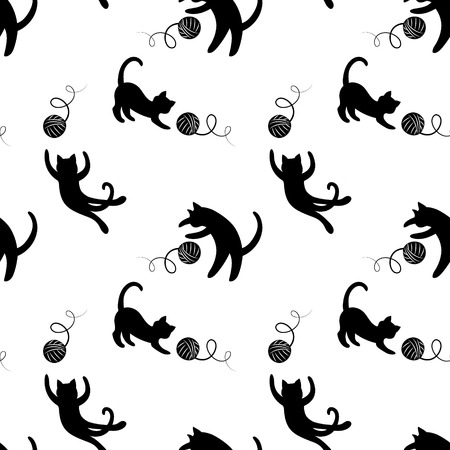 textile: Monochrome seamless pattern with playing cats.