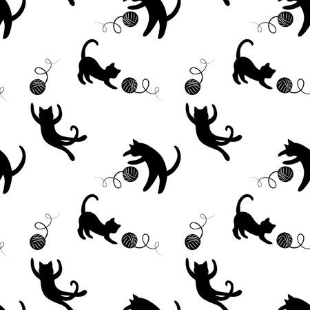 Monocromo patrón sin fisuras con los gatos que juegan. Vectores