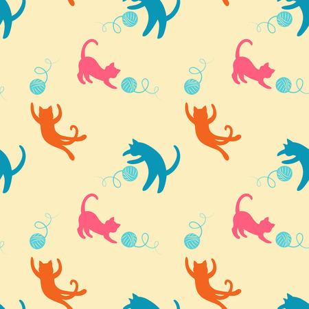 Naadloos patroon met leuke gekleurde spelen katten op. Stock Illustratie