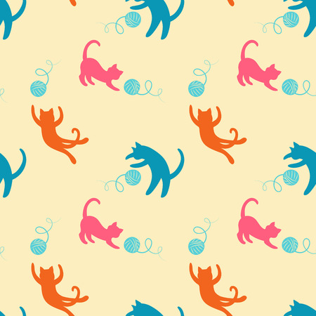 Seamless pattern with cute colored playing cats on. Illustration